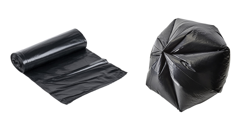Bolsa de plástico negra con fondo de estrella